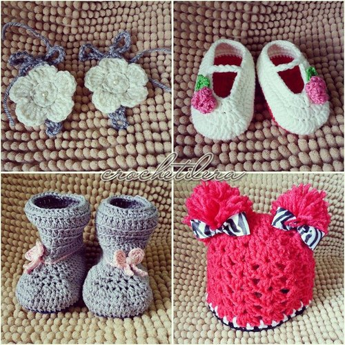 assorted shoes crochet